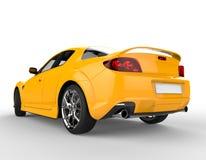 Żółty Nowożytny samochód wyścigowy na Białym tle - Pracowniany oświetlenie Obrazy Royalty Free