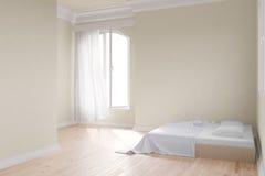 Żółty pokój z łóżkiem royalty ilustracja