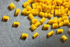 Żółty polimer na stali nierdzewnej zdjęcie stock