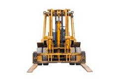 Żółty przemysłowy rozwidlenia lifter dla ładunku transportu odizolowywającego na białym tle Fotografia Stock