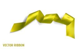 Żółty realistyczny jedwabniczy wektorowy faborek ilustracji