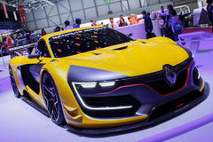 Żółty Renault sport R S 01 2015 Lemański Motorowy przedstawienie Fotografia Royalty Free