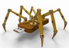 Żółty robota USB błysku pająk Fotografia Stock