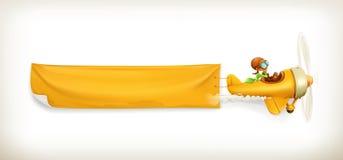 Żółty samolotu sztandar royalty ilustracja