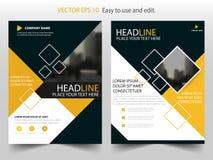 Żółty sprawozdanie roczne broszurki ulotki projekta szablonu wektor, ulotki okładkowej prezentaci abstrakcjonistyczny płaski tło, Obraz Royalty Free