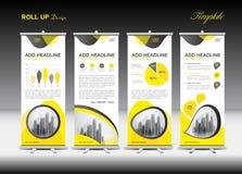 Żółty Stacza się Up sztandaru szablon i infographics, statywowy projekt ilustracji