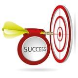 Żółty strzałka celu cel Pomyślny krótkopęd z sztandarem Biznes t Zdjęcie Stock