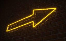Żółty strzałkowaty neonowy Obraz Stock