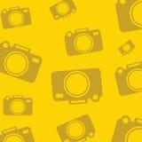 Żółty tło z sylwetek ikonami dla fotografii kamer Vecto royalty ilustracja