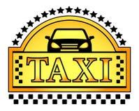 Żółty taxi blazon ilustracja wektor
