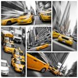 Żółty taxi kolaż, Nowy Jork obraz stock