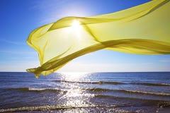 Żółty tkankowy latanie nad morzem Fotografia Stock
