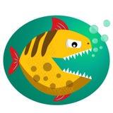 Żółty toothy piranha z bąblami Piranha fang Śliczny niebezpieczny piranha wektor Zdjęcia Royalty Free
