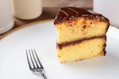 Żółty tort z Czekoladowym mrożeniem fotografia royalty free