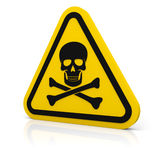 Żółty trójbok ostrzega śmiertelnego znaka Obrazy Stock
