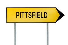 Żółty uliczny pojęcie znak Nowy Pittsfield odizolowywający na bielu fotografia stock