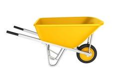 Żółty Wheelbarrow Odizolowywający zdjęcie stock