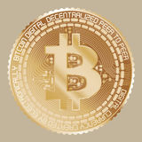 Żółty złoto Bitcoin Ilustracja Wektor