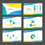 Żółtych błękitnej zieleni prezentaci szablonu Infographic elementów płaski projekt ustawia dla broszurki ulotki ulotki marketingu Fotografia Stock