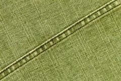 Żółtych cajgów sukienna tekstura z ściegiem Obrazy Stock