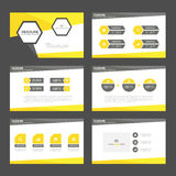Żółtych czarnych prezentacja szablonu Infographic elementów płaski projekt ustawia dla broszurki ulotki ulotki marketingu Zdjęcia Royalty Free