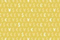 Żółtych Dolarowych Euro jenu funta walut Deseniowy tło Fotografia Royalty Free