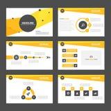 Żółtych i czarnych prezentacja szablonu Infographic elementów płaski projekt ustawia dla broszurki ulotki ulotki marketingu Zdjęcia Royalty Free