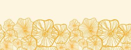 Żółtych kwiecistych kształtów horyzontalny bezszwowy wzór ilustracja wektor