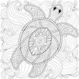 Żółw w ocean fala, zentangle styl Fotografia Stock