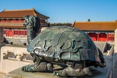 Żółwia broze statua - Zakazujący miasto, Pekin, Chiny fotografia stock