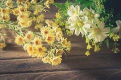 Żółci i biali kwiaty na drewnie Obrazy Stock