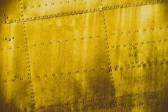 Żółta grunge brudu metalu tekstura Zdjęcia Royalty Free