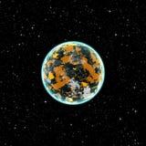 Żółta planeta w przestrzeni Fotografia Stock
