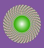 Żółtej zieleni ornament na purpurowym tle Zdjęcie Royalty Free