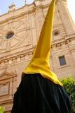 Żółty kapelusz w Wielkanocnej paradzie, Granada Hiszpania Obraz Royalty Free
