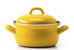 Żółty kuchenny garnek Obrazy Royalty Free