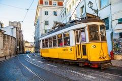 Żółty Lisbon tramwaj Zdjęcie Stock