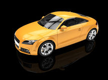 Żółty samochód Na Czarnym tle Obrazy Stock