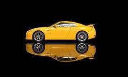 Żółty sporta samochód na Czarnym tle Zdjęcie Stock