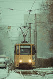 Żółty tramwaj frontowa strona Fotografia Stock
