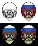 Óculos de proteção do crânio do motociclista e capacete da bandeira de Rússia do Grunge Imagens de Stock Royalty Free