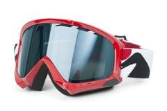 Óculos de proteção do esqui isolados no branco Fotografia de Stock