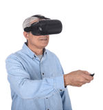 Óculos de proteção do homem e da realidade virtual Foto de Stock