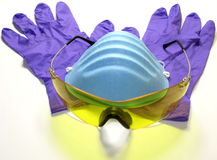 Óculos de proteção, máscara e luvas Imagens de Stock Royalty Free