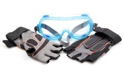Óculos de proteção protetores e luvas Imagem de Stock Royalty Free