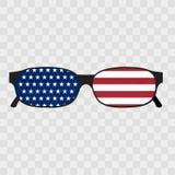 Óculos de sol com bandeira de Estados Unidos da América Ilustração dos óculos de sol com interior da bandeira - Estados Unidos ilustração do vetor