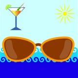Óculos de sol contra o mar, o sol ilustração stock