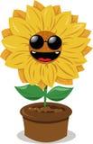 Óculos de sol desgastando do girassol engraçado ilustração royalty free