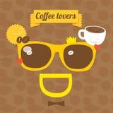 Óculos de sol do sorriso do café Ilustração do vetor do partido do café Imagem de Stock Royalty Free