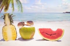 Óculos de sol e fruto na praia tropical arenosa fotografia de stock